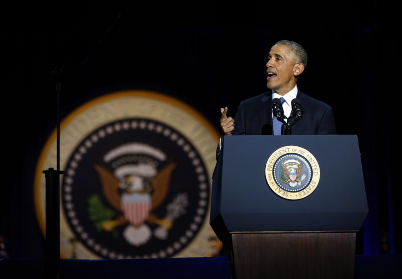President Barack Obama speaks during his farewell address at McCormick Place in Chicago, Tuesday, Jan. 10, 2017.