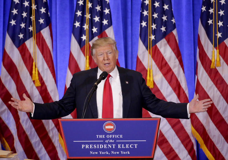President-elect Donald Trump speaks during a news conference, Wednesday, Jan. 11, 2017, in New York. The news conference was his first as President-elect.
