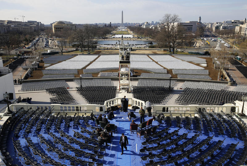Preparations take place Sunday, Jan. 15, 2017, in Washington, following a rehearsal of the swearing-in ceremony for President-elect Donald Trump.