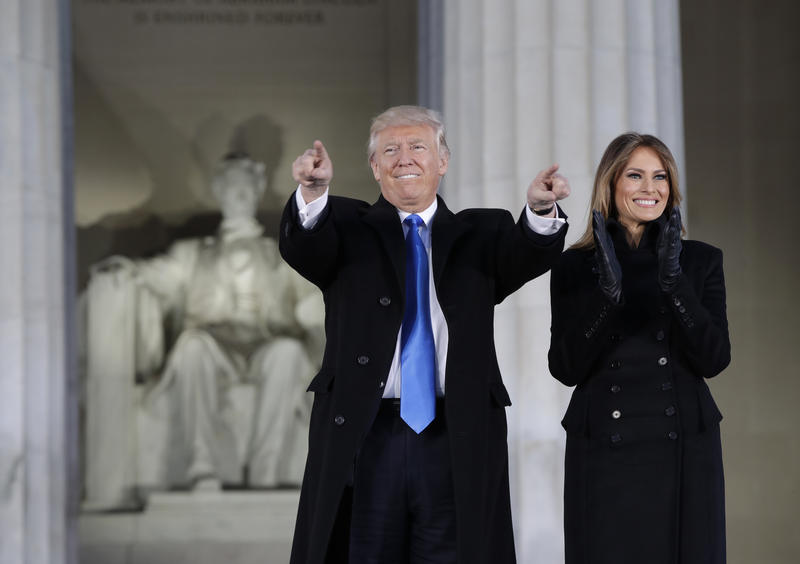 "Melania Trump arrive at a pre-Inaugural ""Make America Great Again! Welcome Celebration"" at the Lincoln Memorial in Washington, Thursday, Jan. 19, 2017."