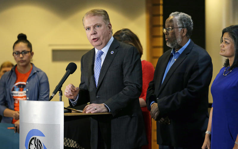 "Seattle Mayor Ed Murray affirms the city's ""sanctuary city"" status at a November press conference."