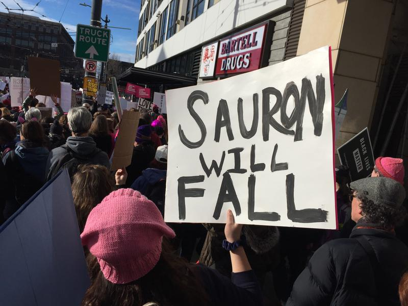 The Womxn's March on Seattle winds through the city on Jan. 21.