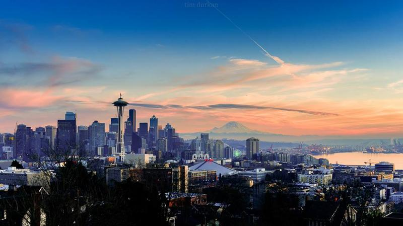 Sunset as seen in Seattle on Jan 15, 2017.