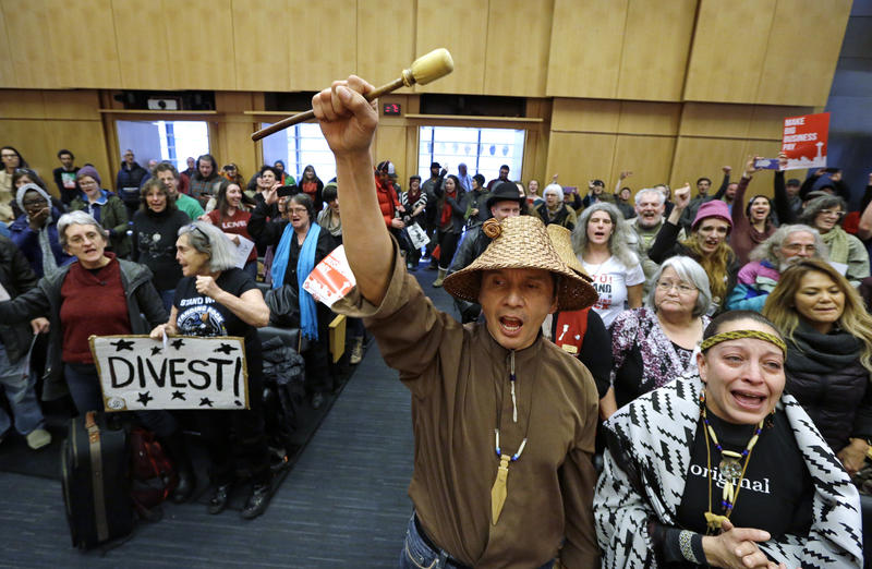 Olivia One Feather, right, and Paul Cheoketen cheer with other audience members after the Seattle City Council voted to divest from Wells Fargo, Tuesday, Feb. 7, 2017, in Seattle. The City Council voted to divest $3 billion in city funds from Wells Fargo