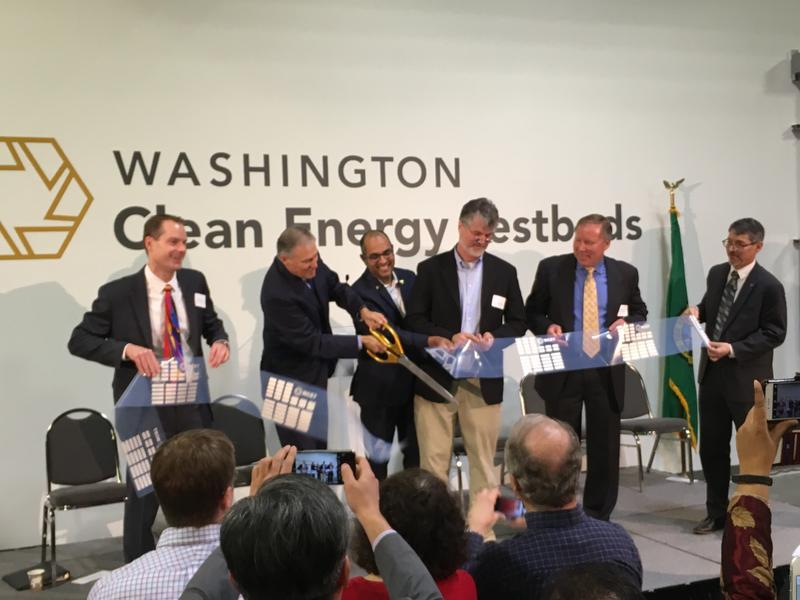 Governor Jay Inslee cuts the ribbon at opening day of the Washington Clean Energy Testbeds, Feb 16th, 2017.