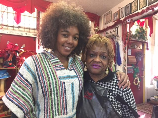 "Jasmine Jackson, one of the hosts of the podcast ""Hella Black Hella Seattle,"" with salon owner De Charlene Williams"