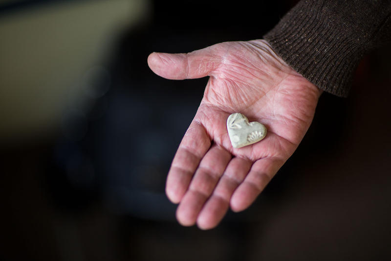 88.5's Nick Morrison displays a special heart he keeps in memory of his sister.
