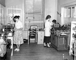 Home of the Good Shepherd students employed in printing, 1957.