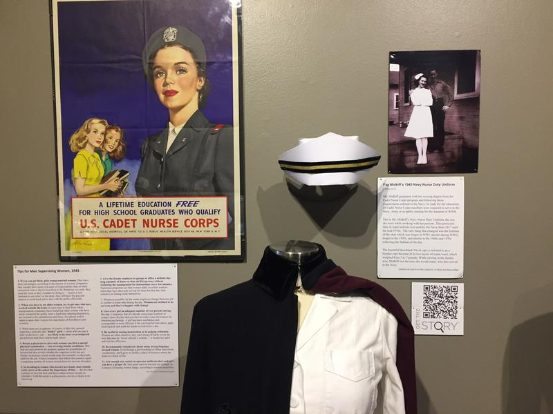 A World War II nurse's uniform is on display from 1945.