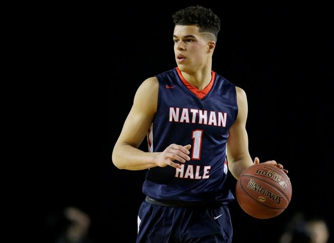 Nathan Hale forward Michael Porter Jr. dribbles downcourt against Garfield in the first half of the Washington state boys 3A high school basketball championship, Saturday, March 4, 2017, in Tacoma.