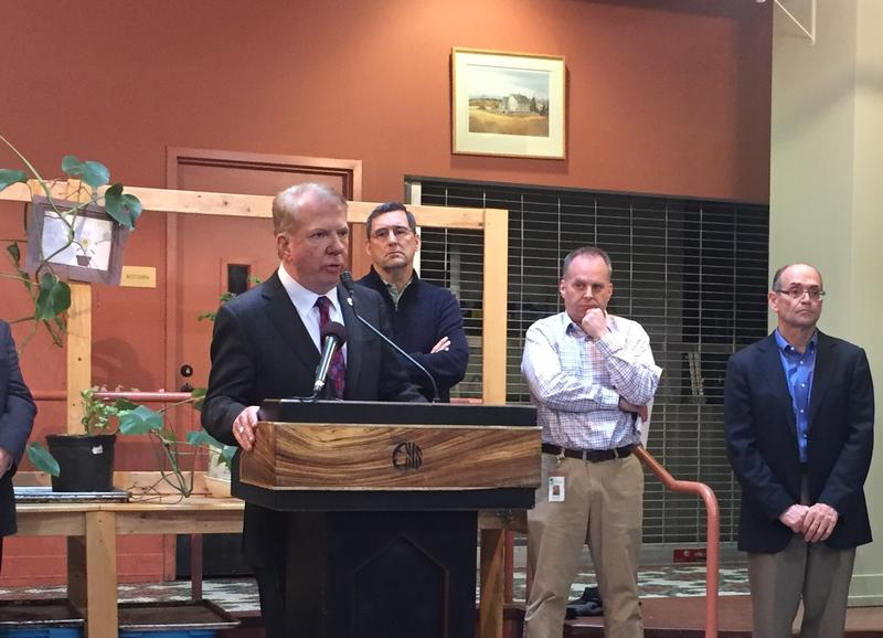 Seattle Mayor Ed Murray speaking at a news conference at the Lyon Building on March 8, 2017.