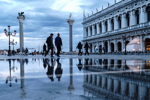 The Piazza San Marco in Venice, after a rain.