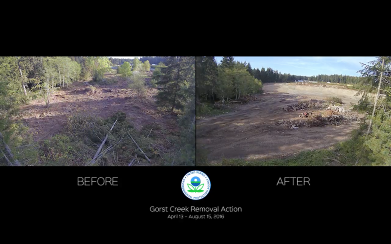 Before and after the Gorst Creek Landfill cleanup