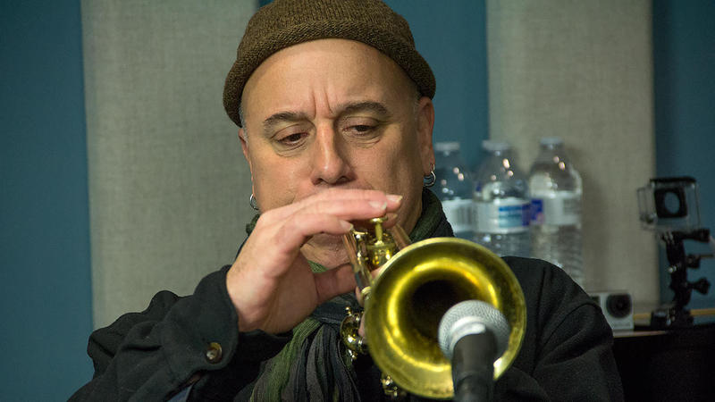 Sex Mob's Steven Bernstein blows his horn in the KNKX studios.