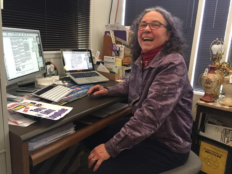 Sherry Bockwinkel inside her office at Tacoma Lamp Repair. She was one of the first people in Washington state to use paid signature gatherers for initiative petitions.