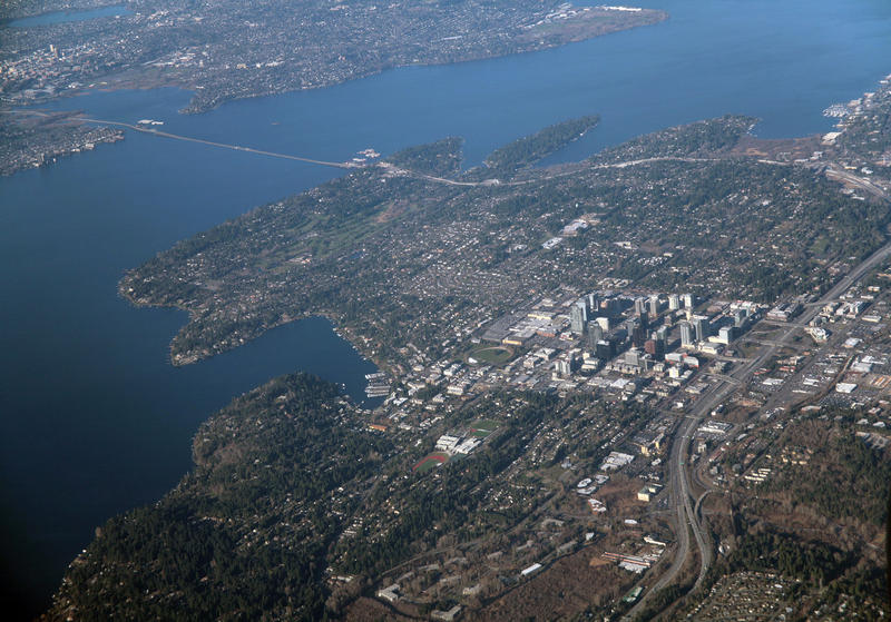 """""""Downtown Bellevue, Washington aerial"""" by Doc Searls is licensed under CC BY 2.0 bit.ly/2oE9brl"""