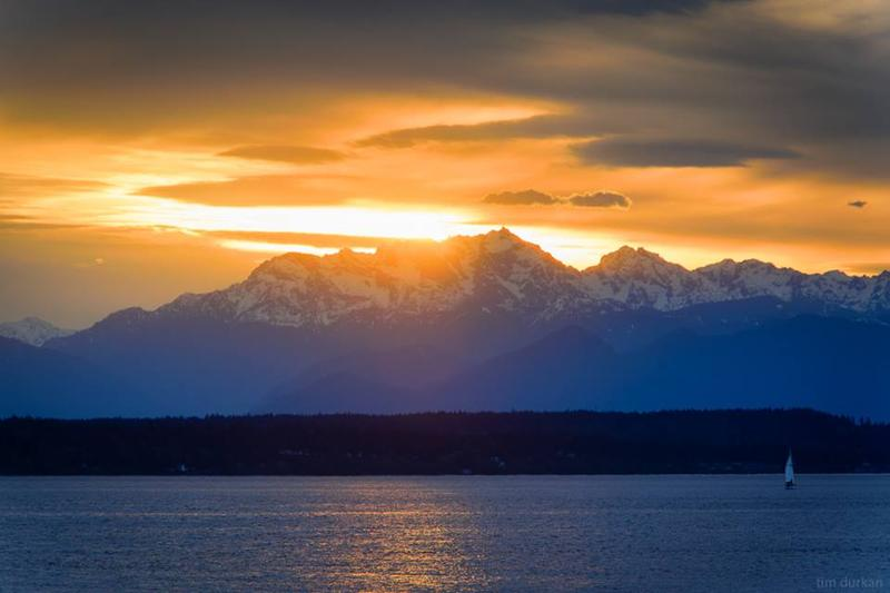 A classic April sunset in Seattle, view of the Olympic Mountains and Elliott Bay.