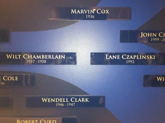 Czaplinski is immortalized on a wall in Kansas, right next to Wilt Chamberlain.