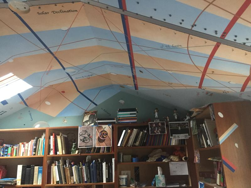 The sundial mural painted across the ceiling of Woody's study.