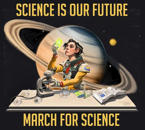An image by Miles Greb, chief organizer of the March for Science in Seattle. He's a writer and artist and has been designing t-shirts for Saturday's march.