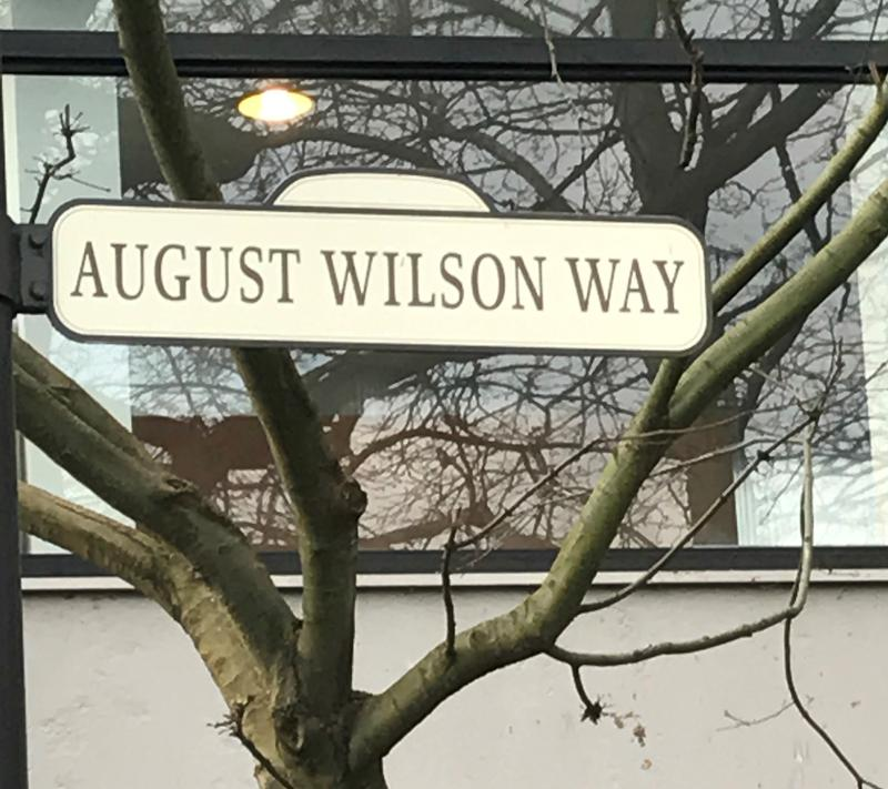 The street sign that marks August Wilson Way at Seattle Center