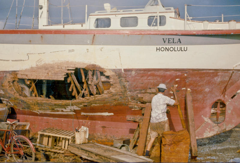 The Vela after it was salvaged from the reef off the coast of Fiji.