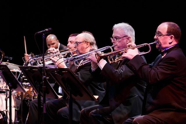 D'vonne Lewis, drums, and SRJO trumpets Michael van Bebber, Andy Omdahl, Jay Thomas, Jim Sisko.