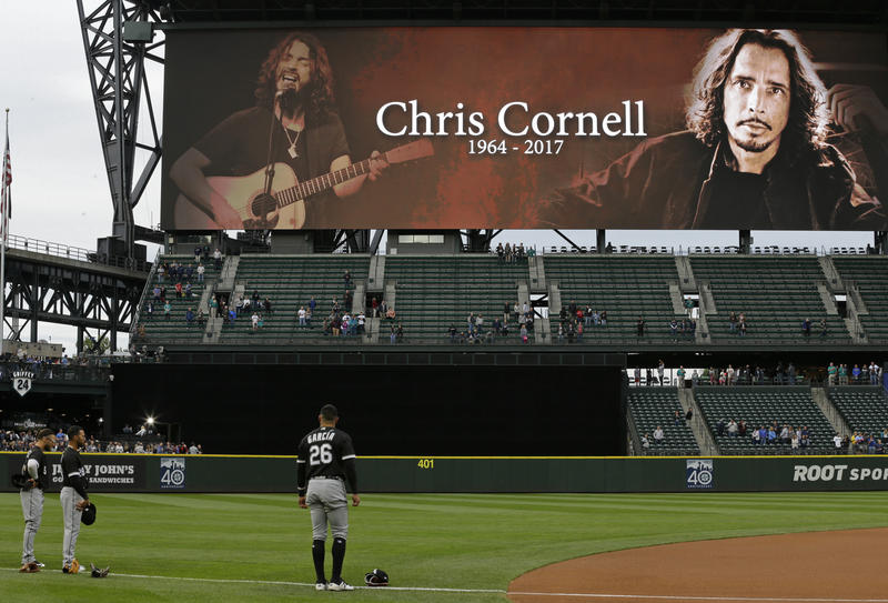 A tribute to singer Chris Cornell is shown on a video display at Safeco Field in Seattle before a baseball game between the Seattle Mariners and the Chicago White Sox, Thursday, May 18, 2017.