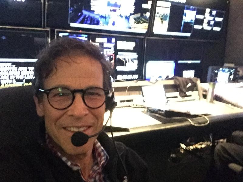 Television director and producer, Steve Wilson, in a control room in Los Angeles, California.