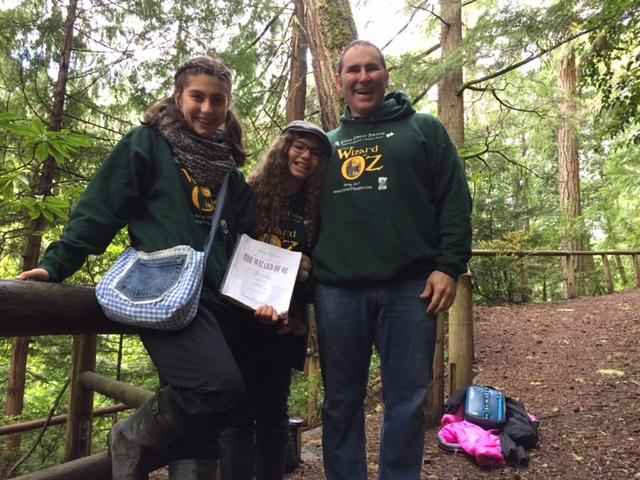 Tod Harrick and his daughters at the Kitsap Forest Theater.