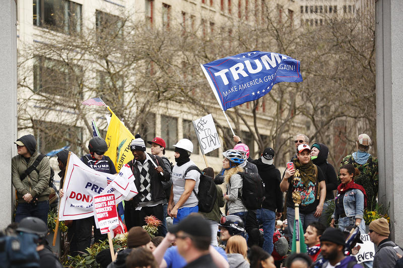 Pro-Trump demonstrators rallied in Westlake Park on Monday May 1, 2017. The event had two brief marches throughout downtown Seattle.