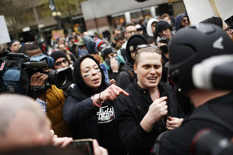 Clashes between pro-Trump and anti-Trump supporters began at the end of the second march in Westlake Park Monday evening.