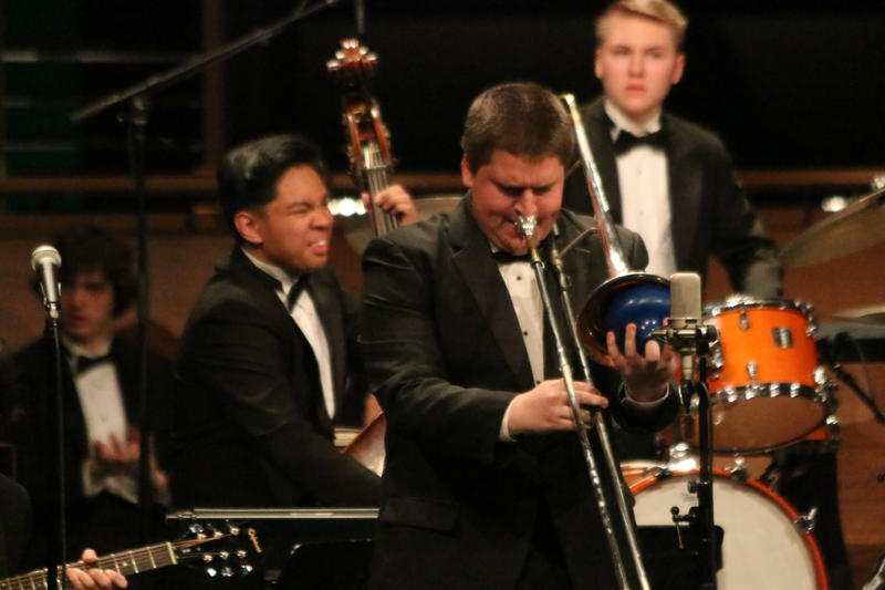 Edmonds-Woodway trombone player Jack Hillman playing during Essentially Ellington