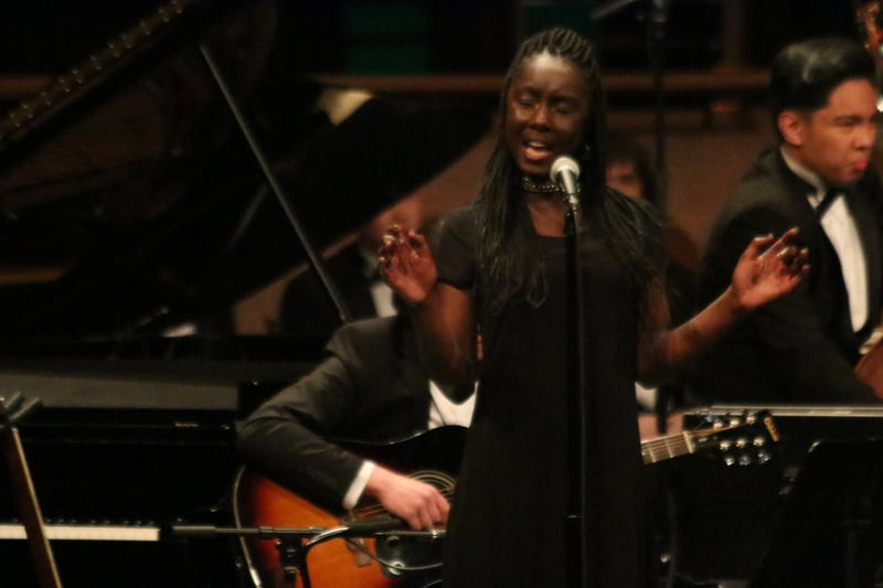 Soloist Unathi Machyo sings during the Edmonds-Woodway performance at Essentially Ellington