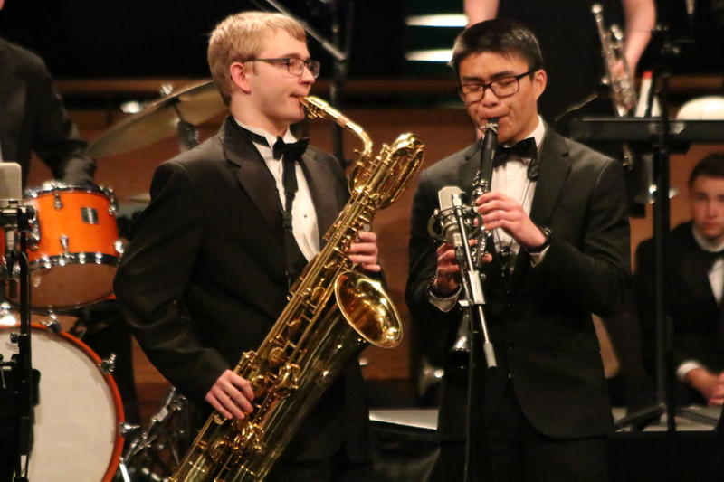 Kyle Bainbridge on the bari sax and Rimmy Lee on clarinet during Edmonds-Woodway's performance at Essentially Ellington
