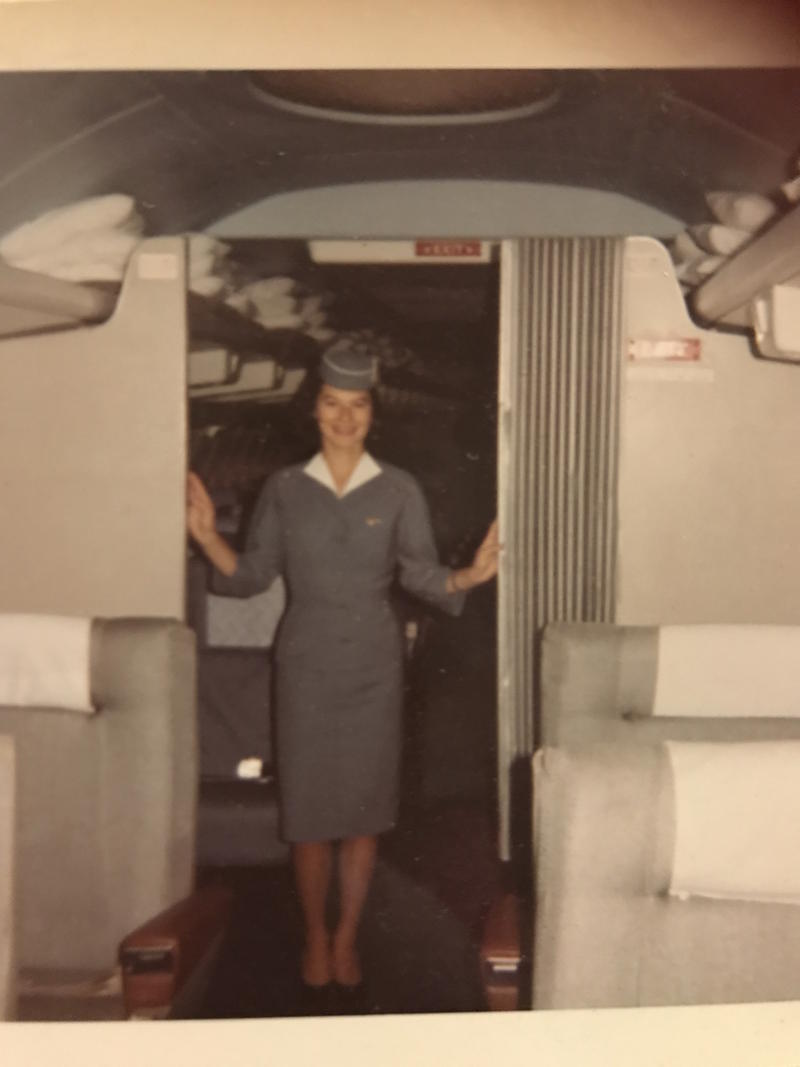 Gloria Sferra in a Pan American Airplane.