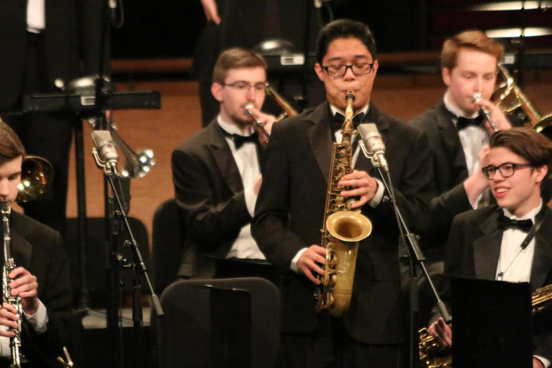 Mount Si alto sax player Christian Palomo playing during Essentially Ellington festival