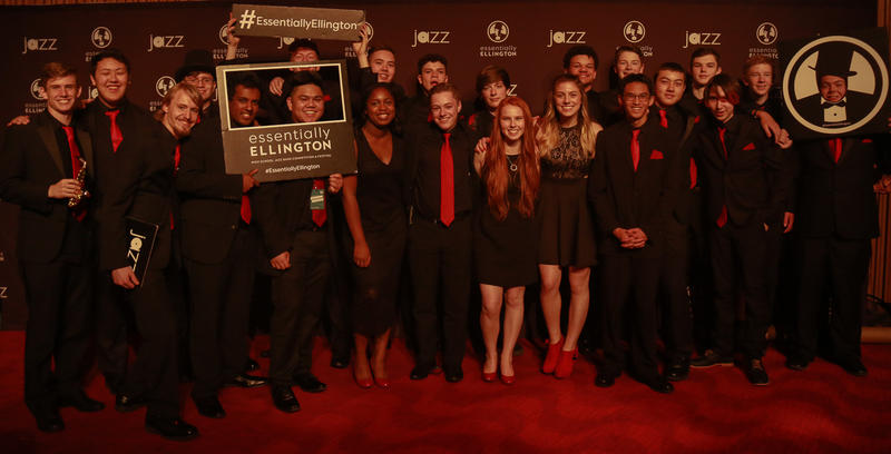 Mountlake Terrace students pose for a group shot ahead of Essentially Ellington performance