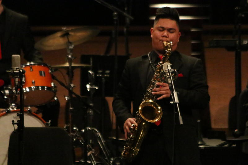 Andrew Sumabat plays during the Mountlake Terrace performance at Essentially Ellington