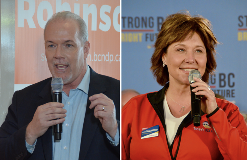 BC New Democratic Party Leader John Horgan (left) addresses supporters in Coquitlam, in suburban Vancouver on Sunday. BC Liberal Party Leader and incumbent Premier Christy Clark (right) speaks at a campaign rally Saturday.