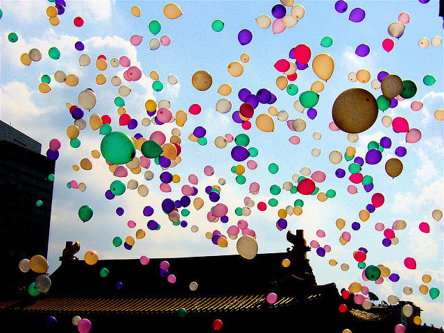 Balloons over a Buddhist temple in Shanghai