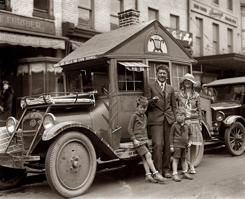 "June and Farrar Burn, the couple who traveled across the country to claim thier 15-acre island. Here, they are in Washington D.C. with their ""Ballad Bungalow."""