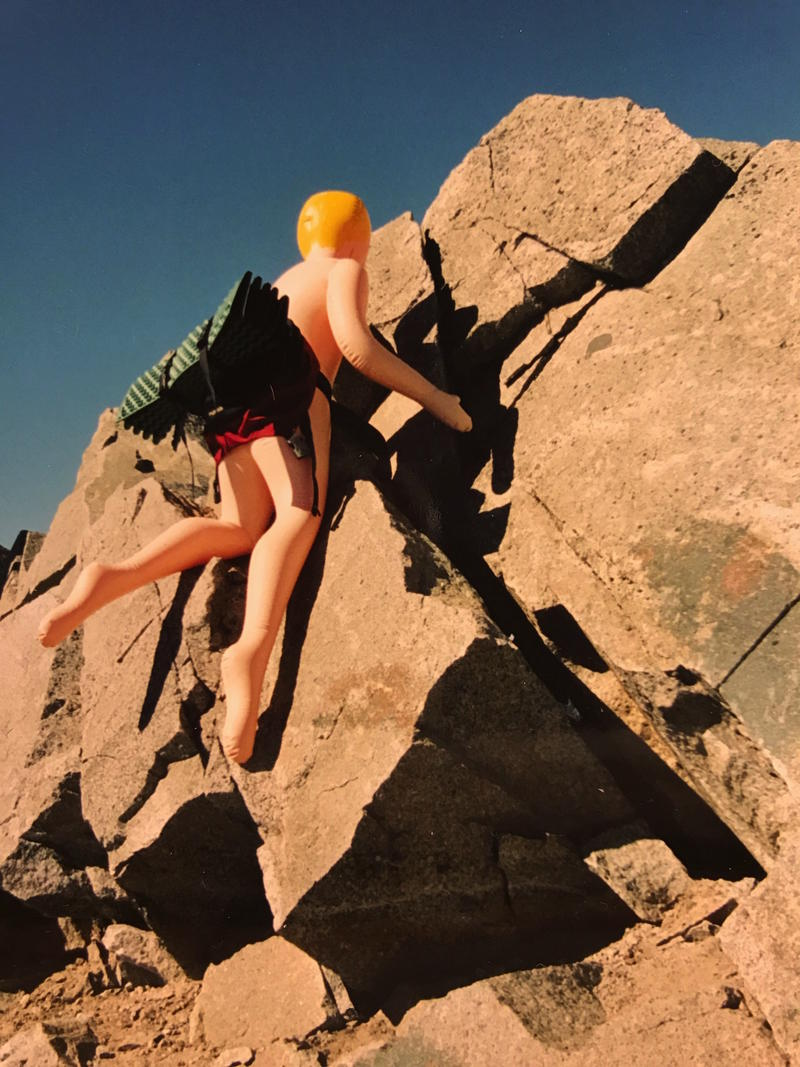 'Claudine,' the inflatable sex doll, scaling a rocky ledge in the North Cascades.