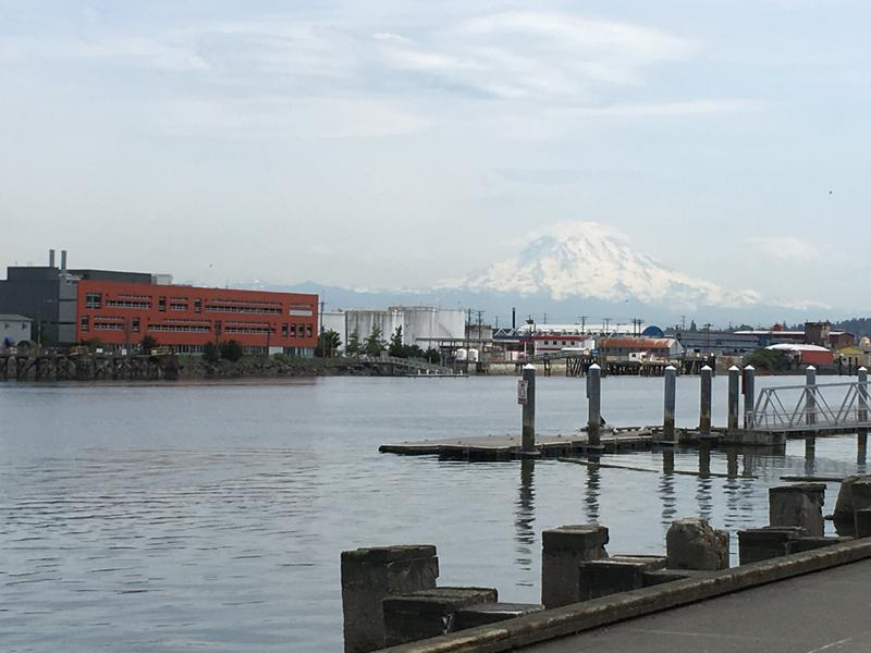 Mount Rainer, as seen from Thea Foss Waterway in Tacoma, on June 7, 2017