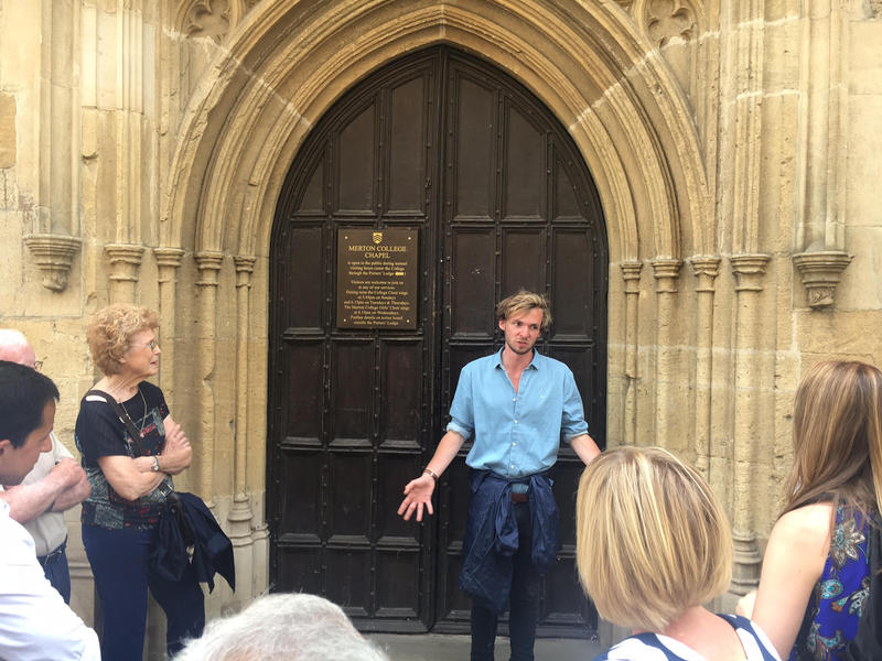 Luke Makay with Footprints Tours leads visitors through Oxford.