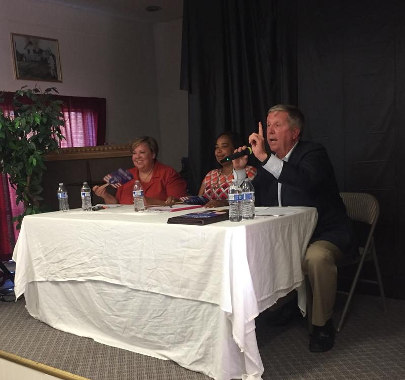 Candidates for Tacoma mayor debate on July 14, 2017. From left: Evelyn Lopez, Victoria Woodards, and Jim Merritt