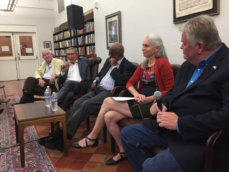 Four former Seattle mayors and a former deputy mayor gather at the Folio library downtown on July 20, 2017. From left: Wes Uhlman, Charles Royer, Norm RIce, Maud Smith Daudon, and Greg Nickels.