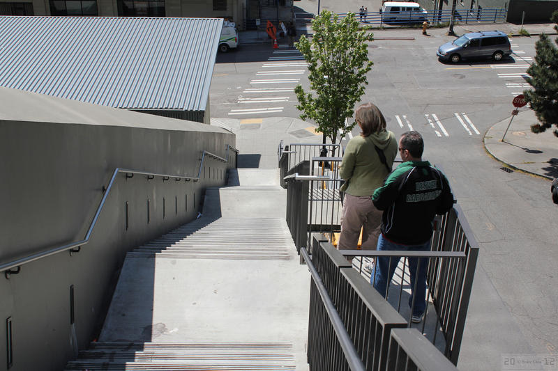 Getting down to the waterfront from downtown Seattle often involves staircases.