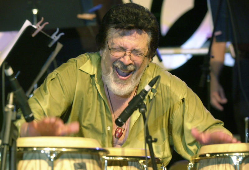 Ray Barretto plays the congas at the Tito Puente Auditorium in San Juan, Puerto Rico in 2002