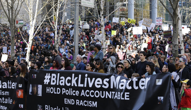 Protesters took part in a Black Lives Matter rally in Seattle on Apr. 15, 2017